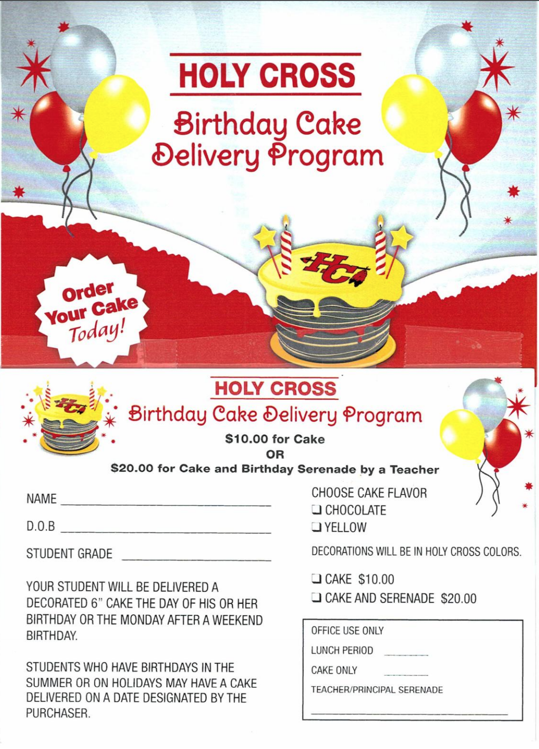 Cake order sheet