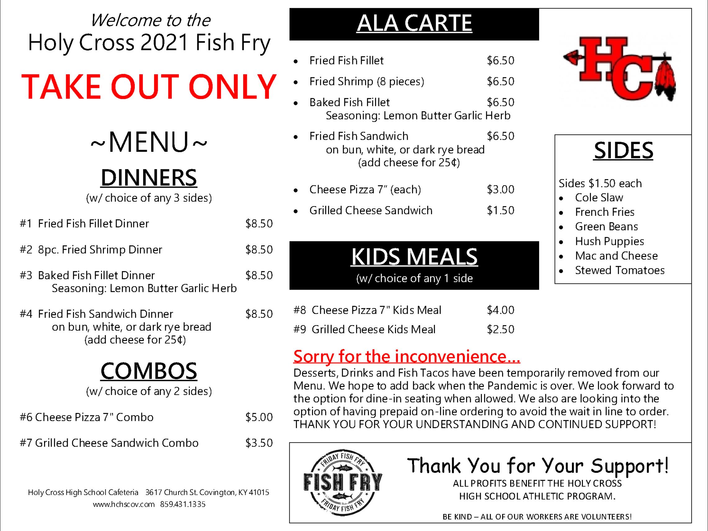 Hc Fish Fry 2021 Take Out Menu